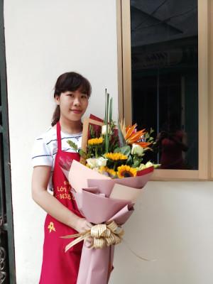 Dạy bó hoa sinh nhật kiểu dài